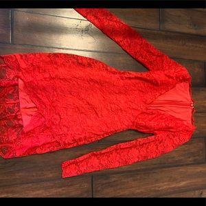 BEAUTIFUL Bebe red lace dress NWOT